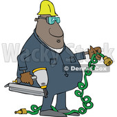 Clipart of a Cartoon Black Male Construction Worker Holding an Air Nailer - Royalty Free Vector Illustration © djart #1606296