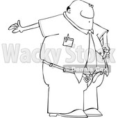 Clipart of a Cartoon Lineart Black Business Man Giving Him a Diabetes Insulin Shot - Royalty Free Vector Illustration © djart #1606299