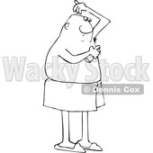 Clipart of a Cartoon Lineart Black Man Applying Deodorant Spray - Royalty Free Vector Illustration © djart #1606301