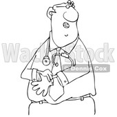 Clipart of a Cartoon Lineart Black Male Doctor Putting on Exam Gloves - Royalty Free Vector Illustration © djart #1606319