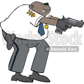 Clipart of a Cartoon Black Male Police Officer Aiming His Gun - Royalty Free Vector Illustration © djart #1606323