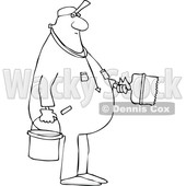Clipart of a Cartoon Lineart Black Male Painter - Royalty Free Vector Illustration © djart #1607404