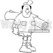Clipart of a Cartoon Lineart Black Male Carpet Layer Carrying a Roll and Trowel - Royalty Free Vector Illustration © djart #1607407