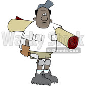 Clipart of a Cartoon Black Male Carpet Layer Carrying a Roll and Trowel - Royalty Free Vector Illustration © djart #1607408