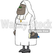 Clipart of a Cartoon Black Nun Carrying a Bible and Wearing a Cross Around Her Neck - Royalty Free Vector Illustration © djart #1608363