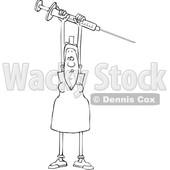 Clipart of a Cartoon Lineart Black Female Nurse Holding up a Giant Vaccine Syringe - Royalty Free Vector Illustration © djart #1608503