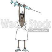 Clipart of a Cartoon Black Female Nurse Holding up a Giant Vaccine Syringe - Royalty Free Vector Illustration © djart #1608507