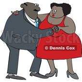 Clipart of a Cartoon Black Couple Dancing - Royalty Free Vector Illustration © djart #1608508