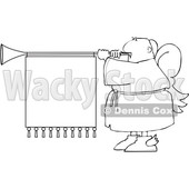 Clipart of a Cartoon Lineart Black Male Christmas Angel Blowing a Horn with a Banner Sign - Royalty Free Vector Illustration © djart #1609127