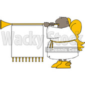 Clipart of a Cartoon Black Male Christmas Angel Blowing a Horn with a Banner Sign - Royalty Free Vector Illustration © djart #1609128