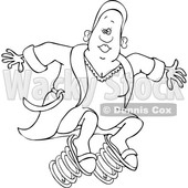 Clipart of a Cartoon Lineart Black Woman in a Robe, Springing Forward - Royalty Free Vector Illustration © djart #1609130