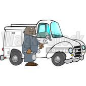 Clipart of a Cartoon Black Male Worker Holding Tools by a Truck - Royalty Free Vector Illustration © djart #1609452