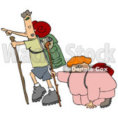 Skinny Man Carrying Hiking Gear And Using A Stick While Pointing Forwards, Trying To Motivate His Overweight Wife And To Get Her Into Better Health While Taking A Hike Clipart Illustration © Dennis Cox #16131