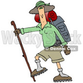 Slender And Fit Woman Using A Hiking Stick And Carrying Camping Gear While Tackling A Tough Trail Clipart Illustration © djart #16132