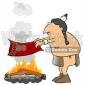 Male Native American Indian Flapping A Blanket Above A Fire To Make A Smoke Signal Clipart Illustration © Dennis Cox #16133