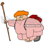 Out Of Shape Chubby Woman In Pink Sweats Carrying A Backpack And Kneeling While Holding Onto Her Hiking Stick To Catch Her Breath While Hiking Clipart Illustration © Dennis Cox #16134