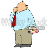 Disgusted Businessman Plugging His Nose To Avoid Smelling A Nasty Odor And Holding A Can Of Air Freshener Spray Clipart Illustration © Dennis Cox #16135