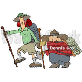 Skinny Woman Hiking With Her Husband That Is Out Of Shape, Kneeling And Taking A Drink From A Canteen Clipart Illustration © Dennis Cox #16139