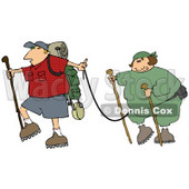 Man Carrying Hiking Gear And Holding A Leash Which Is Attached To His Overweight Wife Clipart Illustration © Dennis Cox #16141