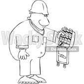 Clipart of a Cartoon Lineart Black Worker Man with an Open First Aid Kit - Royalty Free Vector Illustration © djart #1614173