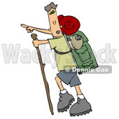 Skinny And Energetic Man Using A Stick While Hiking And Pointing Forward And Carrying Camping Gear On His Back Clipart Illustration © djart #16142