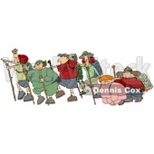 Three Couples With One Skinny Partner And One Chubby Partner Per Couple, All Taking A Hike Together While Two Of Them Struggle Clipart Illustration © Dennis Cox #16145