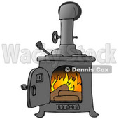 Logs Burning In A Wood Stove To Keep A House Warm Clipart Illustration © djart #16146