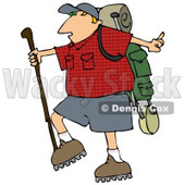 Slightly Chubby Man Hiking And Carrying A Stick And Gear On His Back Clipart Illustration © djart #16148