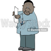 Clipart of a Cartoon Black Business Man Reading a Paper - Royalty Free Vector Illustration © djart #1615291