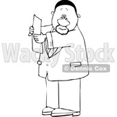 Clipart of a Cartoon Lineart Black Business Man Reading a Paper - Royalty Free Vector Illustration © djart #1615292