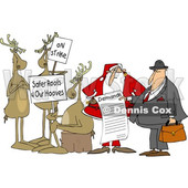 Clipart of a Group of Christmas Reindeer on Strike and Santa Talking to an Attorney About the List of Demands - Royalty Free Vector Illustration © djart #1616059