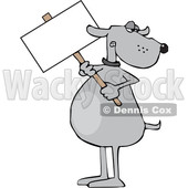 Clipart of a Cartoon Dog Holding a Blank Sign - Royalty Free Vector Illustration © djart #1616551