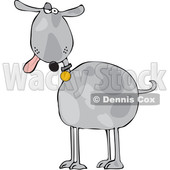 Clipart of a Cartoon Goofy Gray Dog with His Tongue Hanging out - Royalty Free Vector Illustration © djart #1616567