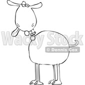 Clipart of a Cartoon Lineart Goof Dog with His Tongue Hanging out - Royalty Free Vector Illustration © djart #1616568