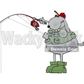 Clipart of a Cartoon Dog Fishing - Royalty Free Vector Illustration © djart #1616727
