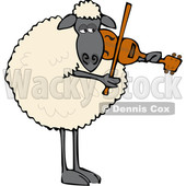 Clipart of a Cartoon Sheep Playing a Violin - Royalty Free Vector Illustration © djart #1616729
