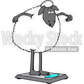 Clipart of a Cartoon Sheep Standing on a Scale - Royalty Free Vector Illustration © djart #1616730