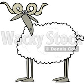 Clipart of a Cartoon Sheep with Curly Horns - Royalty Free Vector Illustration © djart #1617068