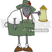 Clipart of a Cartoon Oktoberfest Sheep Holding a Beer Stein - Royalty Free Vector Illustration © djart #1617070