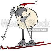 Clipart of a Cartoon Sheep Skiing - Royalty Free Vector Illustration © djart #1617071