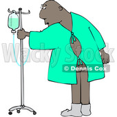 Clipart of a Cartoon Black Man Wearing a Hospital Gown and Realizing His Butt Is Showing - Royalty Free Vector Illustration © djart #1617088