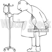 Clipart of a Cartoon Lineart Man Wearing a Hospital Gown and Realizing His Butt Is Showing - Royalty Free Vector Illustration © djart #1617089