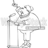 Cartoon Black and White Female Politician at a Podium © djart #1617707