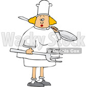 Cartoon Blond White Female Chef Carrying a Giant Spoon and Fork © djart #1617709