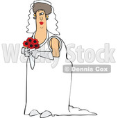 Cartoon White Female Bride Holding a Boquet © djart #1617712
