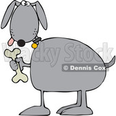 Cartoon Dog Holding a Bone © djart #1618543