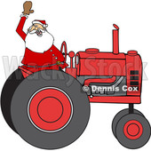 Cartoon Christmas Santa Waving and Driving a Tractor © djart #1620299