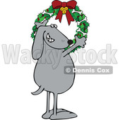 Cartoon Festive Dog Hanging a Christmas Wreath with Bones on It © djart #1620300