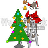 Cartoon Santa Dog Putting a Star on Top of a Christmas Tree © djart #1621807