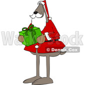 Cartoon Santa Dog Holding a Christmas Present © djart #1621809